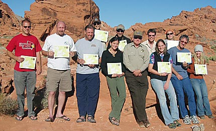 Graduating class of Valley of Fire Leave no Trace Master Educator course (Oct. 2007).