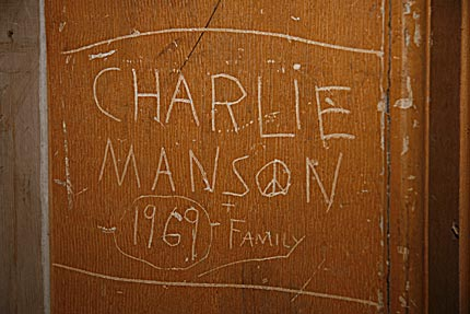 Charles Manson graffiti at Belmont Courthouse State Historic Site in Nevada. Photograph by Bob Conrad.
